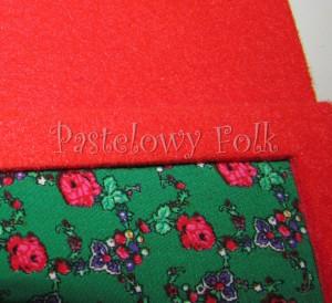 ALBUM NA ZDJĘCIA 01_filc czerwony, tybet zielony, góralski motyw folk, kwiatki_01