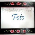 DOM- RAMKA na zdjęcia 01-drewniana czarna 10x15 folkowe kwiaty różowe i zielone listki-01