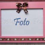 DOM- RAMKA na zdjęcia 07-drewniana różowa 10x15 brązowa tasiemka w kropki serca kokardki, kokarda-01