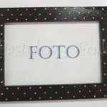 DOM- RAMKA na zdjęcia 12-drewniana czarna 10x15 w złote żółte kropeczki elegancka-01