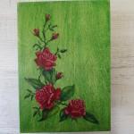 DOM-pudełko 01 - zielone ręcznie malowane róże folkowe góralskie zamykane na zdjęcia_01