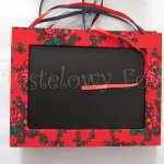 DOM- tablica kredowa 01-czerwona ramka góralska folkowa w kwiatki tybet-01