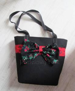 ONA-torebka 01B-duża filcowa góralska folk grafitowa szara czarny czerwone różyczki -01