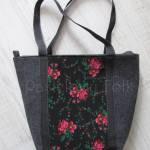 ONA-torebka 01C-duża filcowa góralska folk grafitowa szara czarny czerwone różyczki -01