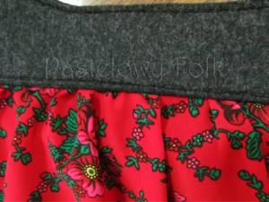 ONA-torebka 02-duża filcowa góralska folk folkowa grafitowa szara czarny czerwone różyczki tybet marszczona -02
