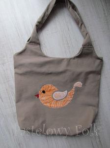 ONA-torebka 08- duza torba bezowa bez ptaszek folkowy folk aplikacja pomarańczowy biały ecru beż ptak rękodzieło jedyna unikatowa-01 allegro