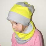 czapka dla dzieci 35- komin komplet pasy jaskrawo zolte i szare, chlopiec, dziewczynka _01