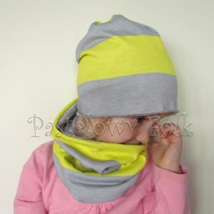 czapka dla dzieci 35- komin komplet pasy jaskrawo zolte i szare, chlopiec, dziewczynka _02