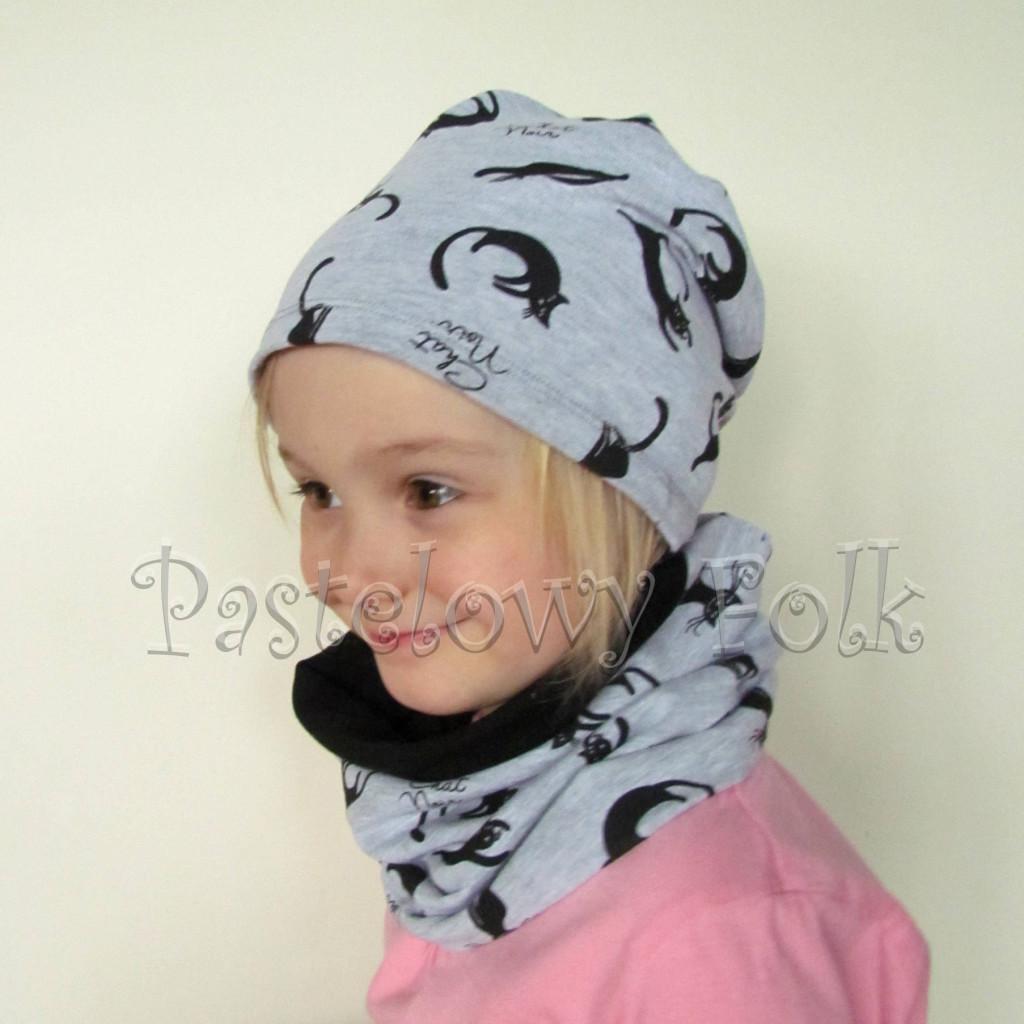 czapka dla dzieci 37- komin komplet szare czarne koty, dzianina, chlopiec, dziewczynka _04