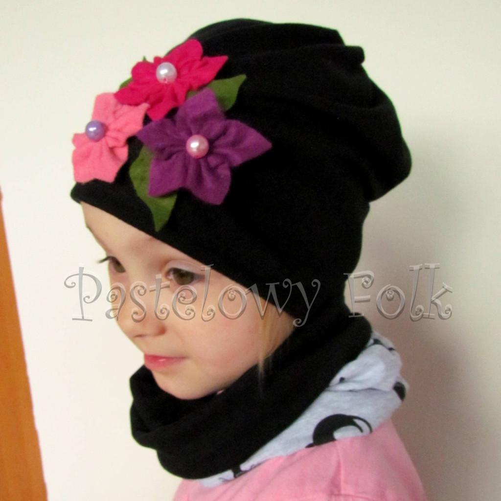 czapka dla dzieci 38- komin komplet czarna w różowe kwiaty filcowe, dzianina, dziewczynka _02