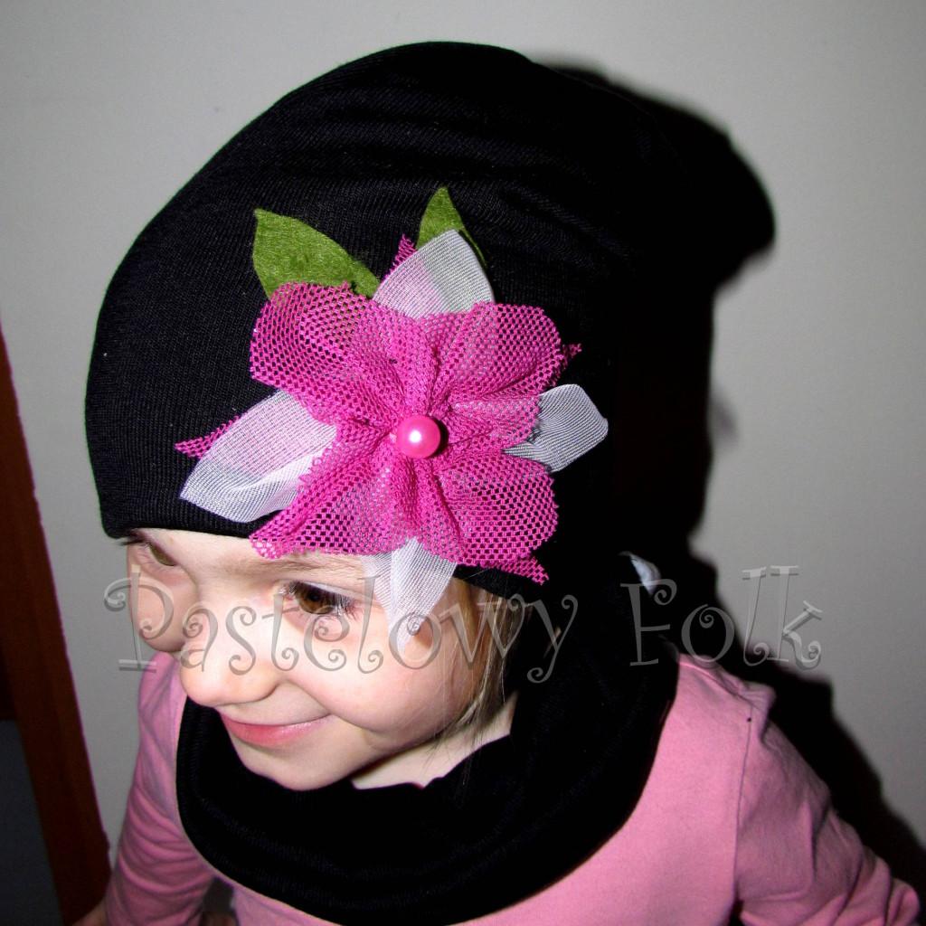 czapka dla dzieci 39-czarna beanie z różowym kwiatem retro, dziewczynka _02