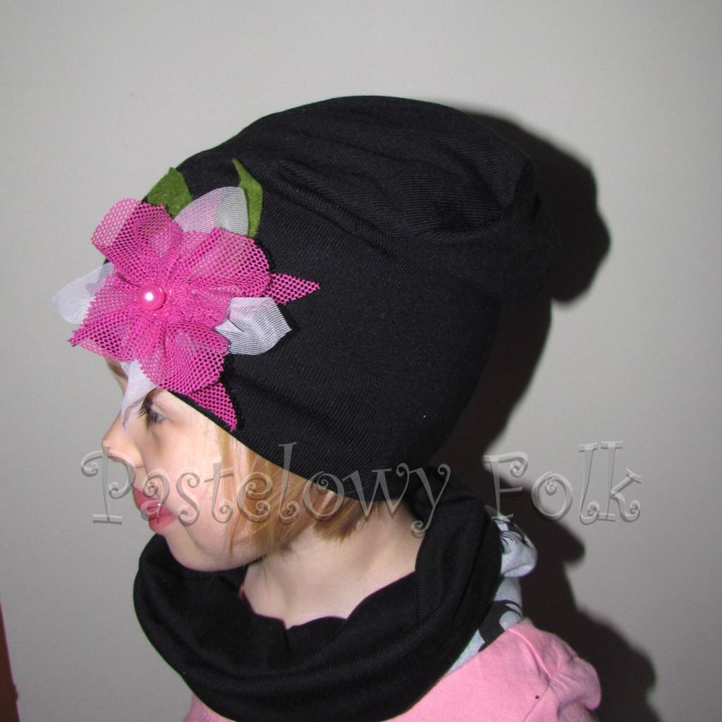 czapka dla dzieci 39-czarna beanie z różowym kwiatem retro, dziewczynka _03