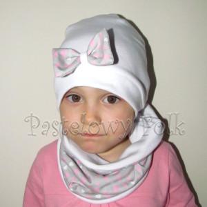 czapka dla dzieci 40-komin opaska komplet biała z kokardką szarą w serduszka różowe, dziewczynka _01