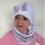 czapka dla dzieci 40-komin opaska komplet biała z kokardką szarą w serduszka różowe, dziewczynka _02