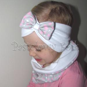 czapka dla dzieci 40-komin opaska komplet biała z kokardką szarą w serduszka różowe, dziewczynka _05