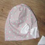 czapka dla dzieci 41-komin opaska komplet szara w serduszka różowe z białym kwiatem retro, dziewczynka _064