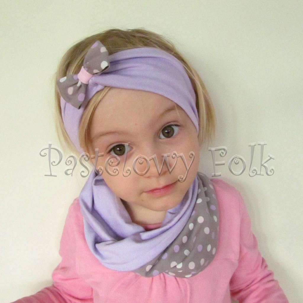 czapka dla dzieci 42-komin opaska komplet fioletowa, beżowo- szara w kropki groszki różowe, kokardka, dziewczynka _01