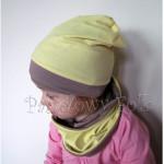 czapka dla dzieci 44-komin komplet dwustronna beżowa brązowa żółta beanie dzianinowa chłopiec dziewczynka _02