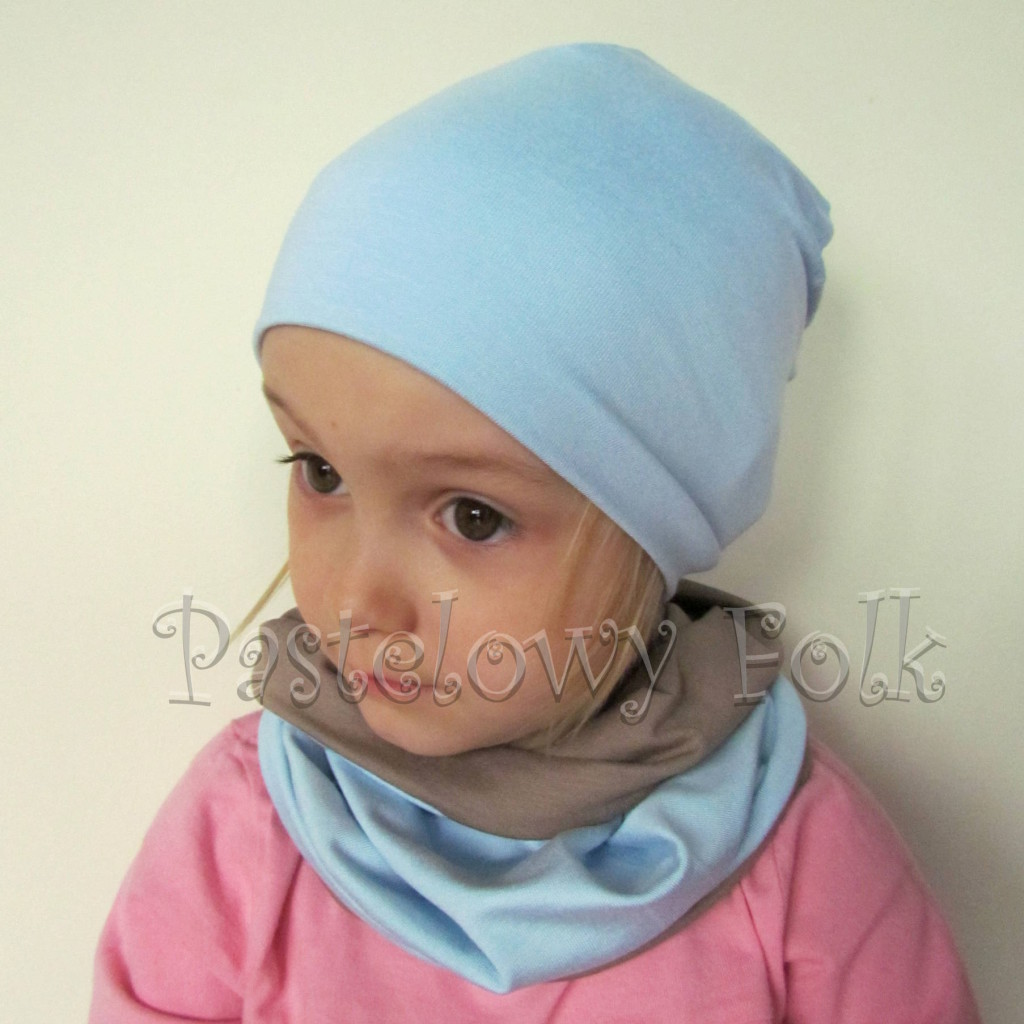 czapka dla dzieci 45-komin komplet dwustronna beżowa brązowa niebieska błękitna beanie dzianinowa chłopiec dziewczynka _02