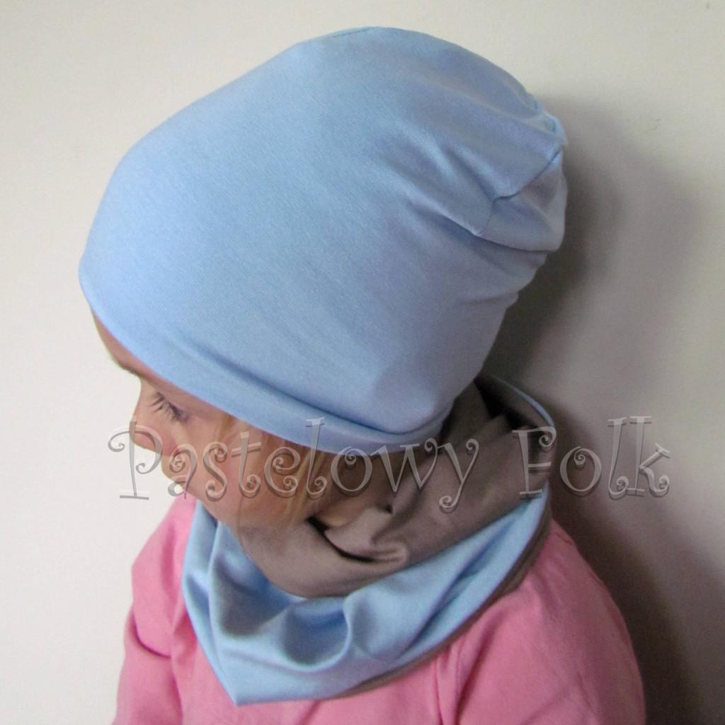 czapka dla dzieci 45-komin komplet dwustronna beżowa brązowa niebieska błękitna beanie dzianinowa chłopiec dziewczynka _03