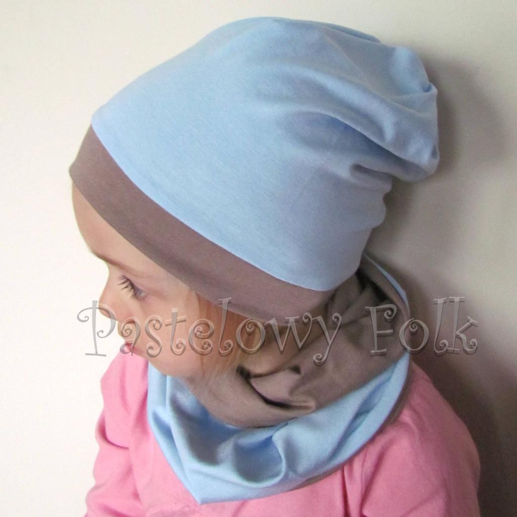 czapka dla dzieci 45-komin komplet dwustronna beżowa brązowa niebieska błękitna beanie dzianinowa chłopiec dziewczynka _05