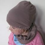 czapka dla dzieci 45-komin komplet dwustronna beżowa brązowa niebieska błękitna beanie dzianinowa chłopiec dziewczynka _07