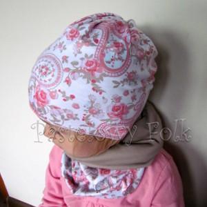 czapka dla dzieci 46-komin opaska komplet beżowa biała w róże jasnoróżowe folkowy wzór dziewczynka _01