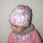 czapka dla dzieci 46-komin opaska komplet beżowa biała w róże jasnoróżowe folkowy wzór dziewczynka _02