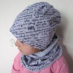 czapka dla dzieci 47-komin komplet szara dzianina w napisy czarne dziecięca chłopiec dziewczynka przytul mnie love_02