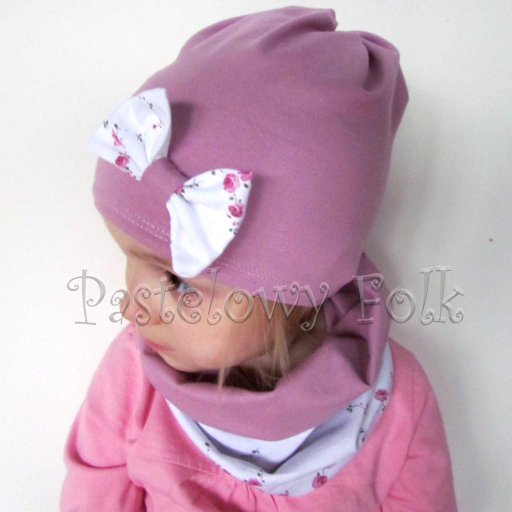 czapka dla dzieci 48-komin komplet wrzosowy róż z białą kokardą w różyczki dzianina, dziewczynka_01