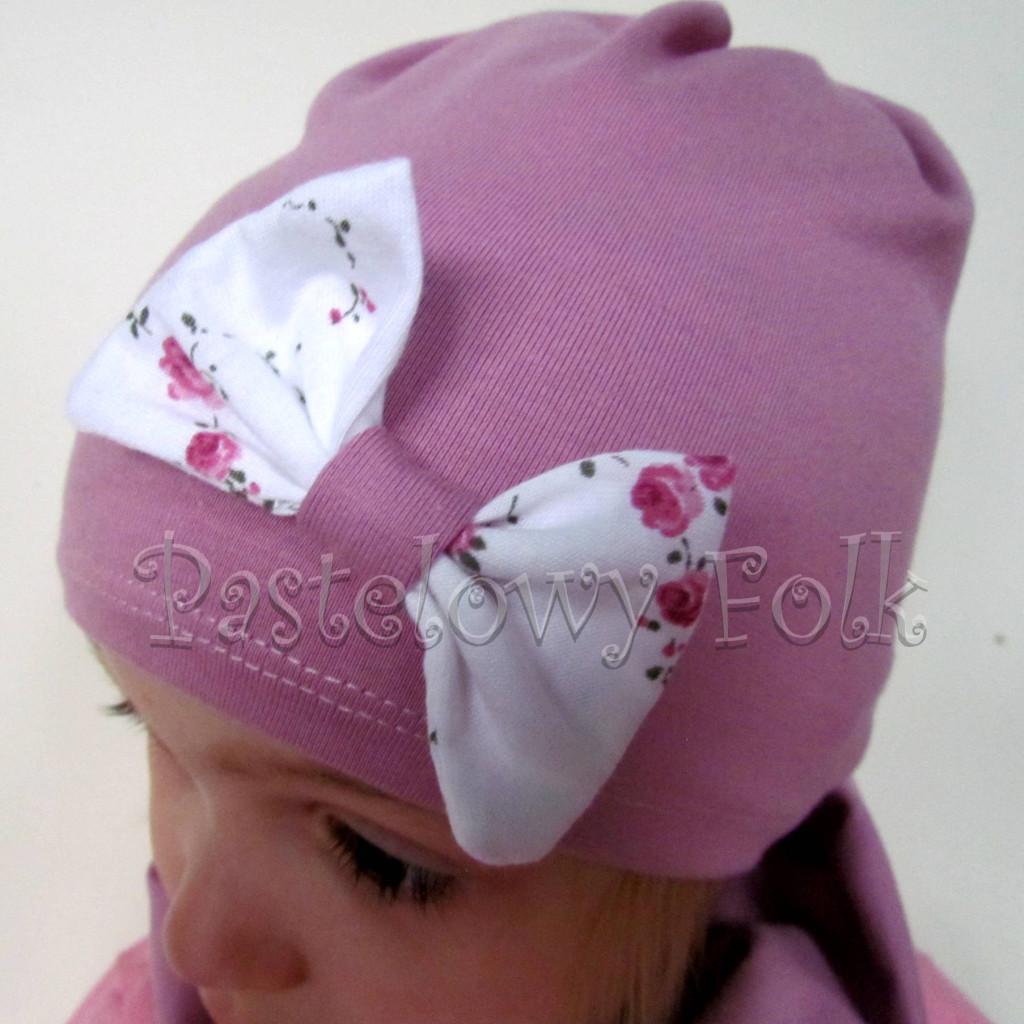 czapka dla dzieci 48-komin komplet wrzosowy róż z białą kokardą w różyczki dzianina, dziewczynka_04