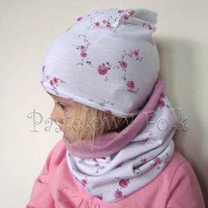 czapka dla dzieci 48-komin opaska komplet wrzosowy róż z białą kokardą w różyczki dzianina, dziewczynka_06