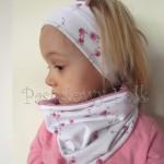 czapka dla dzieci 48-komin opaska komplet wrzosowy róż z białą kokardą w różyczki dzianina, dziewczynka_09