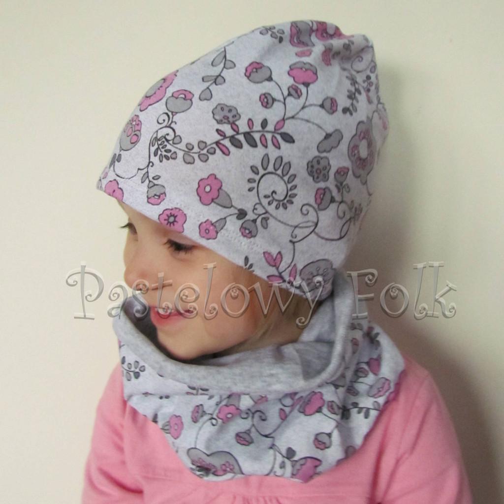 czapka dla dzieci 50-komin komplet szary w różowe kwiatki, wzór chłopiec, dziewczynka dzianina_01