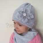 czapka dla dzieci 51- szara z retro kwiatem i guzikiem, dziewczynka dzianina_01