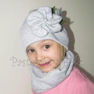 czapka dla dzieci 52- szara beanie z retro kwiatem i perelka, dziewczynka dzianina_02