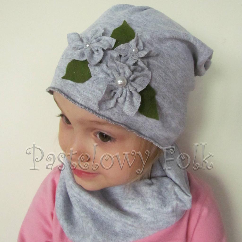 czapka dla dzieci 53- szara beanie z retro kwiatkami, dziewczynka dzianina_01