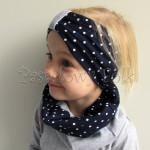 czapka dla dzieci 55- komin opaska komplet, granatowa w kropki groszki z retro kwiatami i perełkami, dziewczynka dzianina_0