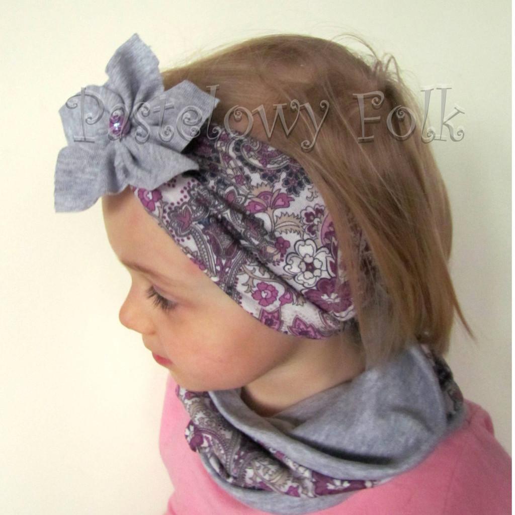 czapka dla dzieci 56- komin opaska komplet, szara w fioletowe i różowe kwiatkim, wzór turecki, z retro kwiatem, dziewczynka dzianina_01