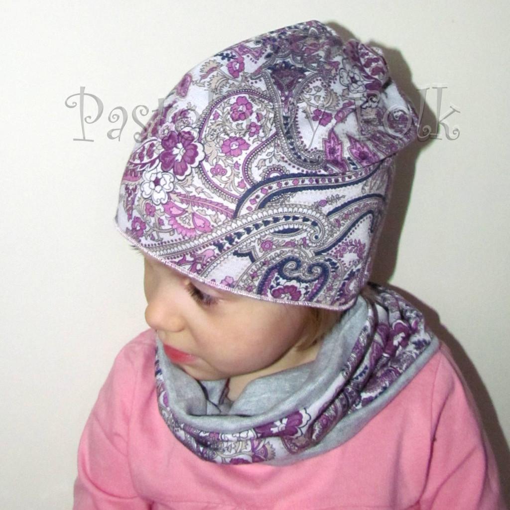 czapka dla dzieci 56- komin opaska komplet, szara w fioletowe i różowe kwiatkim, wzór turecki, z retro kwiatem, dziewczynka dzianina_03