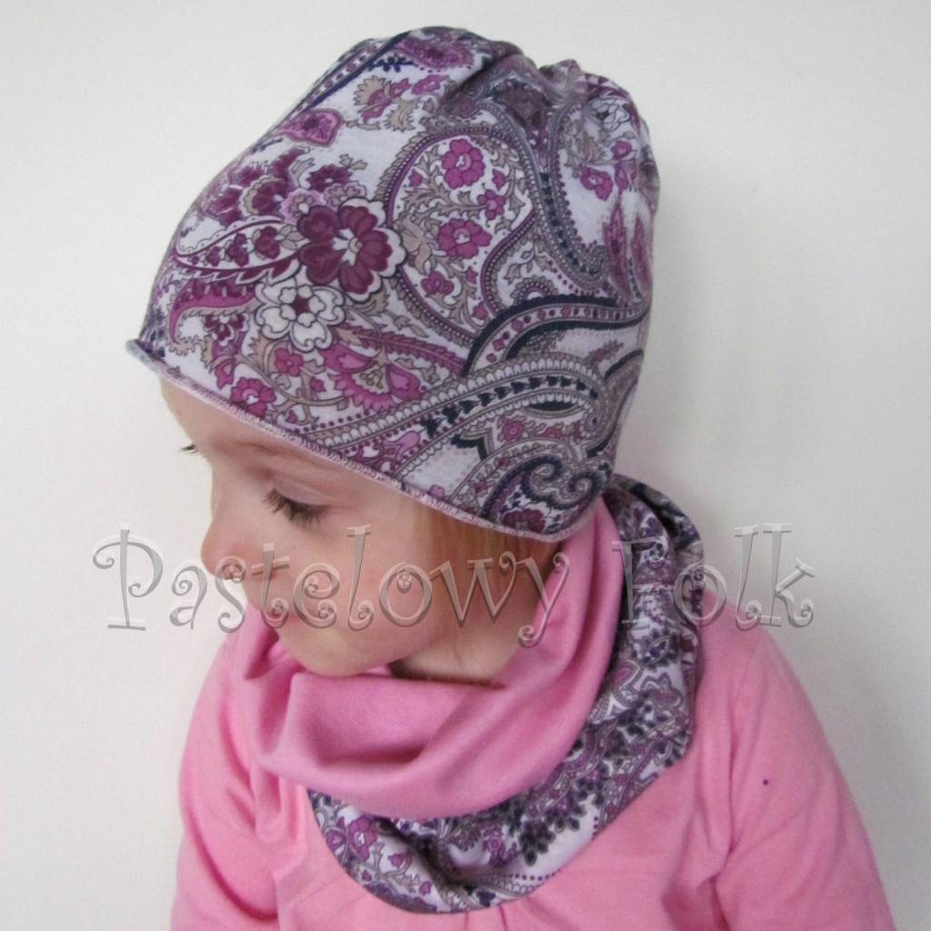 czapka dla dzieci 57- komin opaska komplet, różowa, szara w fioletowe i różowe kwiatkim, wzór turecki, z kokardka, dziewczynka dzianina_01