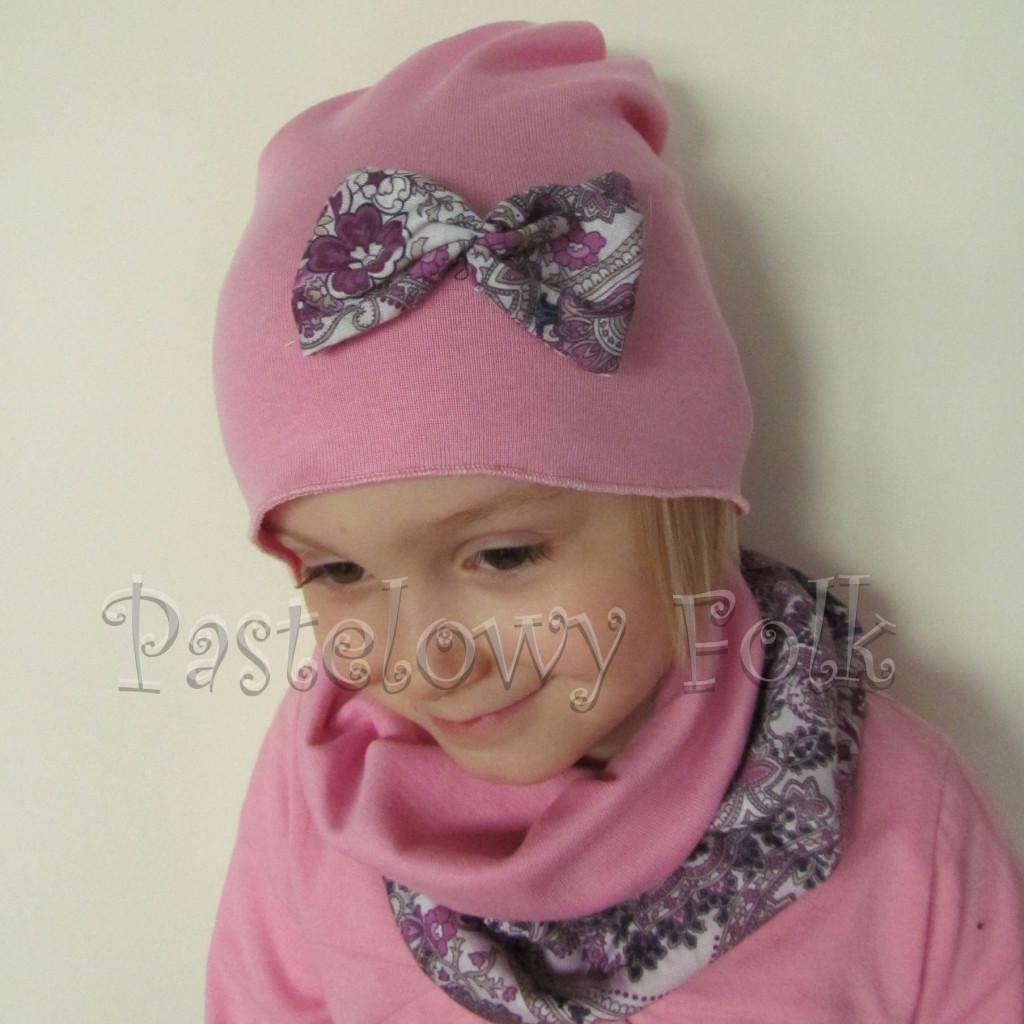 czapka dla dzieci 57- komin opaska komplet, różowa, szara w fioletowe i różowe kwiatkim, wzór turecki, z kokardka, dziewczynka dzianina_03