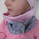czapka dla dzieci 58- komin opaska komplet, jasnoróżowa szara w różowe kwiatki, wzór turecki,dziewczynka dzianina_01