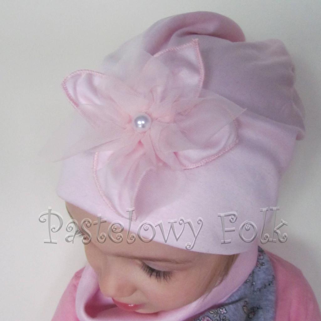 czapka dla dzieci 58- komin opaska komplet, jasnoróżowa szara w różowe kwiatki, wzór turecki,dziewczynka dzianina_02