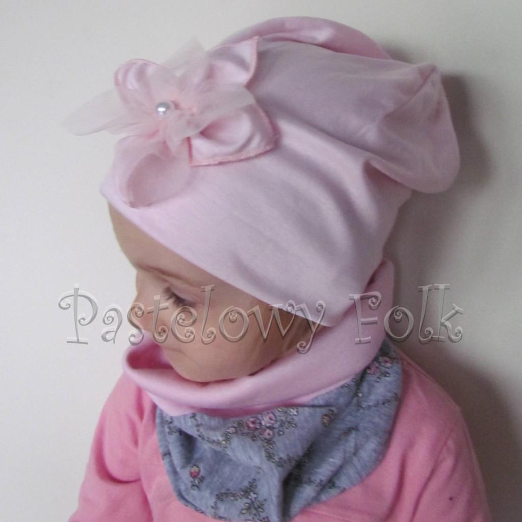 czapka dla dzieci 58- komin opaska komplet, jasnoróżowa szara w różowe kwiatki, wzór turecki,dziewczynka dzianina_03
