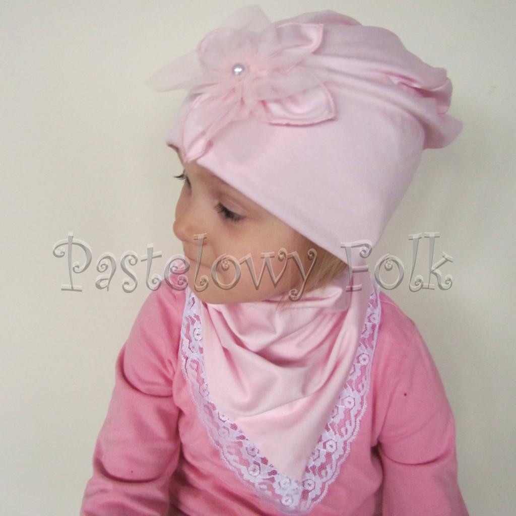 czapka dla dzieci 59- komin opaska komplet, jasnoróżowa z duzym retro kwiatemi,dziewczynka dzianina_02