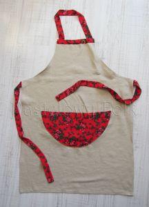 dom-fartuszek fartuch kuchenny 01-folkowy folk góralski len lniany czerwony tybet kwiatuszki różyczki kieszonka kieszeń duża kuchnia-01