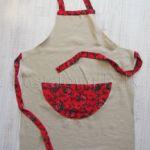 Folkowy lniany fartuszek kuchenny z czerwonymi różami
