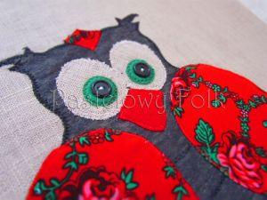 dom-poszewka na poduszkę 01 -40x40 cm lniana na zamek folkowa góralska sowa czerwone róże tybet-02