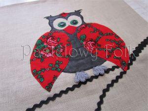 dom-poszewka na poduszkę 01 -40x40 cm lniana na zamek folkowa góralska sowa czerwone róże tybet-03